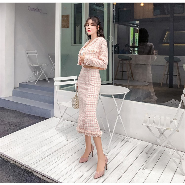 Autumn New Fashion Women Plaid Two Piece Set Elegant Pocket Short Coat and High Waist Fishtail Skirt Suit OL Solid Tweed Suits