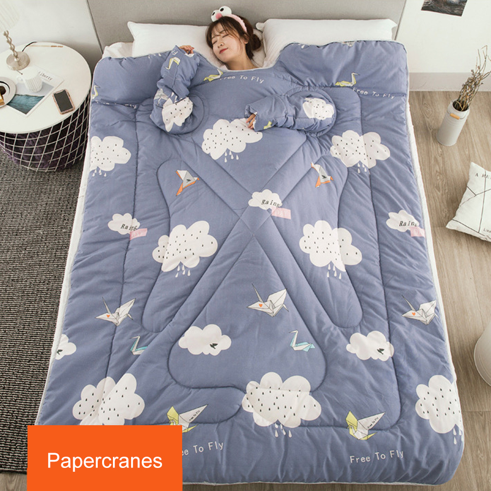 Warmful winter Comforters autumn Lazy Quilt with Sleeves family Blanket Cape Cloak Nap Blanket Dormitory Mantle