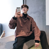 2019 Spring New Men's Long sleeved Shirt Small Lattice Loose Type Bottoming Fake Two High Collar Shirt Fashion Casual Youth City