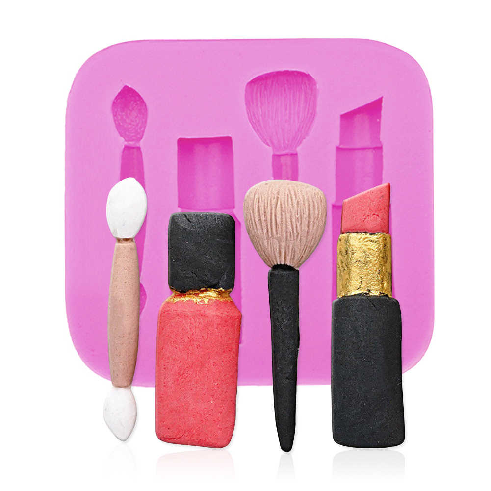 1pc Silicone Mould Cake Decorative Creative Makeup Lipstick Nail Chocolate Mold Candy Sugar moldes de silicona para manualidades