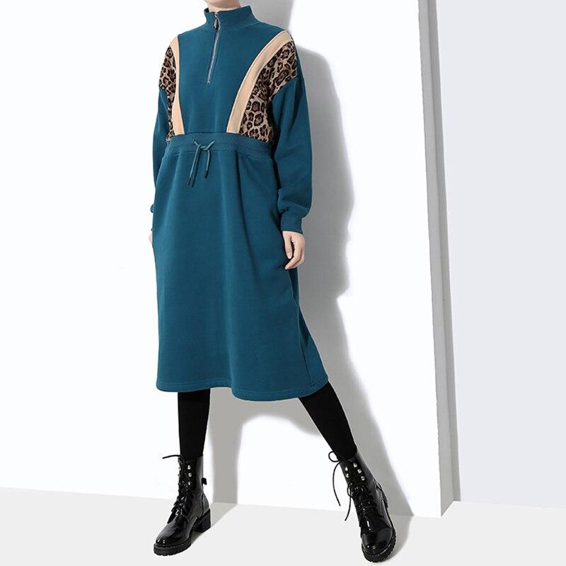 Léopard Cordon Pour Roulé Midi Coréenne Robe Dentelle Up blue Marée Black Vêtements Femmes Col Dress Dress Robes Manches Longues Patchwork Mode À Chicever FwvS55