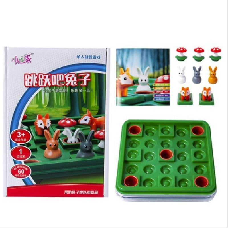 Smart Jumping Rabbit Board Games Run Rabbit 60 Challenge with Solution Family Interactive Games IQ Training