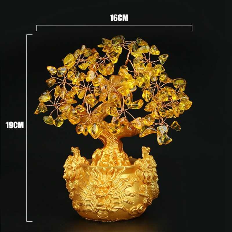 Chiński złoty kryształ szczęśliwe pieniądze Fortune Tree przynoszące szczęście bogactwo Home Office ornament dekoracyjny figurki najlepsze prezenty