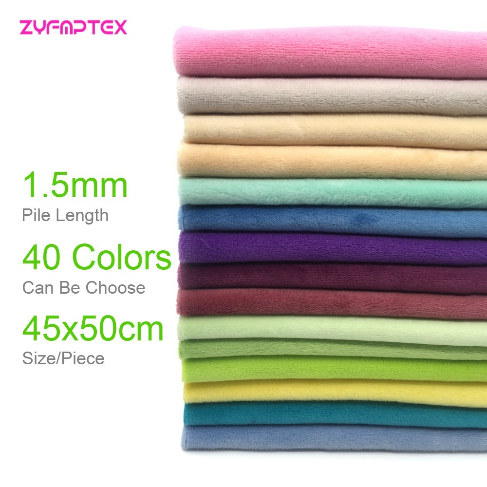 1.5mm Pile Length 45x50cm Soft Plush Fabric Handwork DIY Doll Winter Clothes Thickness Antipilling Minky Fabric 40 Colors Chosen