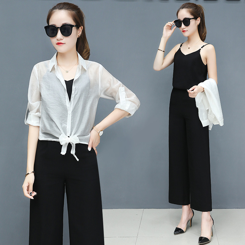 2019 Spring summer women sets office lady elegant chiffon blouse shirts+female wide leg pants trousers pantalon two piece sets 3