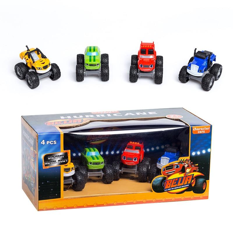 4pcs/set Alloy Car Blaze Flame Kelas Pike Secup Toys Russian Crusher Truck Vehicles Figure Blaze Toy Blaze Monster Machines Y74