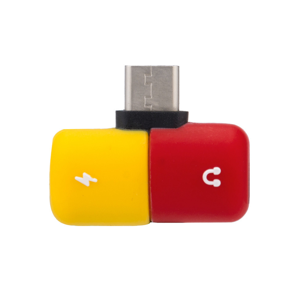 Splitter Type C Capsule Pill Shape Fast Lighting Charging To Earphone 3.5mm Audio Cable Charger Adapter For Samsung
