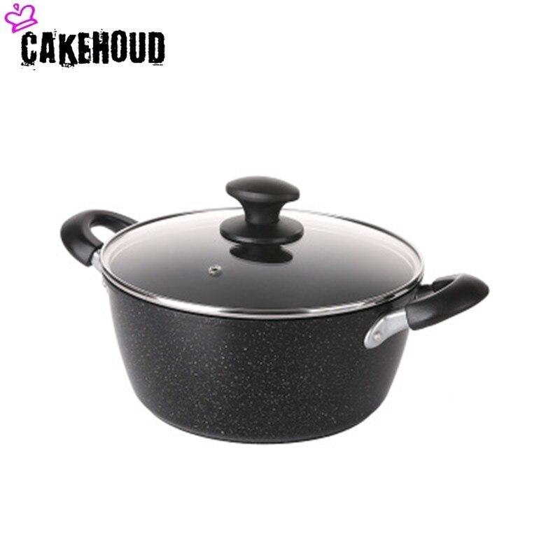 CAKEHOUD 20 cmépaissir marmite cuisinière Maifan pierre antiadhésive casserole Chef classique en aluminium marmite avec couvercle cuisine ustensiles de cuisine