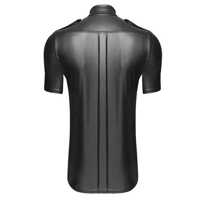 Men Undershirt Faux Leather Shirts Short Sleeve Cool Men Nightclub Stage Costumes Bar Club Wear Costume Shirts Undershirts 3