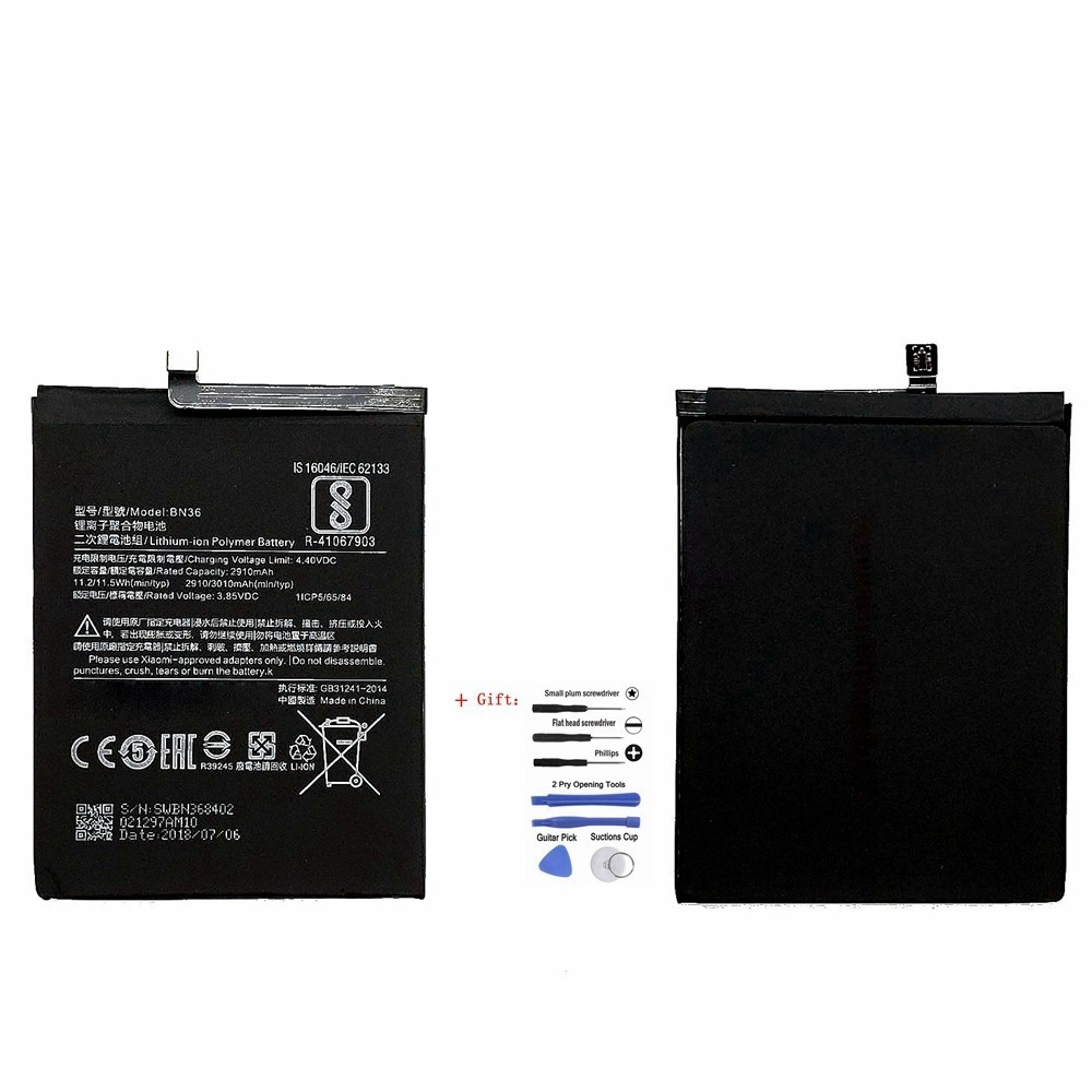 Suqy 100% 2910mAh new BN36 BN 36 BN-36 <font><b>Battery</b></font> for Xiaomi <font><b>Mi</b></font> <font><b>6X</b></font> mi6x Replace <font><b>Batteries</b></font> Accumulator With Repair Tools Kit bateria image
