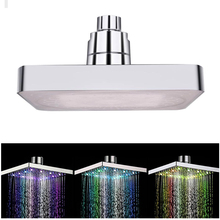 Colorful Rainfall Shower Head Spary LED Square Light Water Sprinkler Bathroom Wall Mounted Led Showerhead