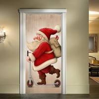 3D Simulation Santa Claus Door Stickers Removable Wall Stickers DIY Door Sticker