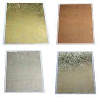 100Pcs 14*14CM Leaf Leaves Sheets Design Paper Art Craft DIY Craft Decor Gilding Foil Papers Imitation Gold Sliver Copper