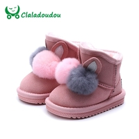 Size21 37 Toddler Cartoon Snow Boots Children Brand Baby Girl Fashion Genuine Leather Boots Kid Black Warm Pompon Ankle Boot