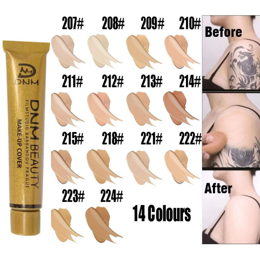 14 Colors Concealer Liquid Foundation Natural Moisturizer Portable Small Gold Tube Concealing Tattoo Acne Marks Skin Brighten