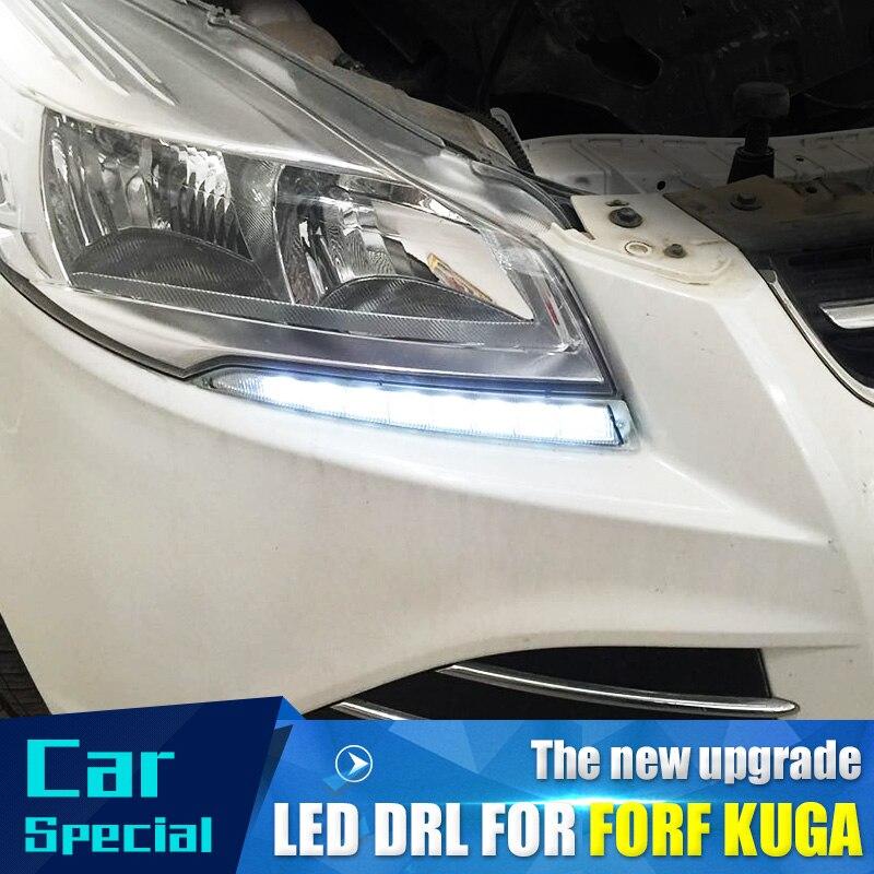 2 pièces/ensemble étanche voiture led diurne lumière drl lumière du jour led voiture pour Ford Kuga Escape 2012 2013 2014 2015 avec antibrouillard