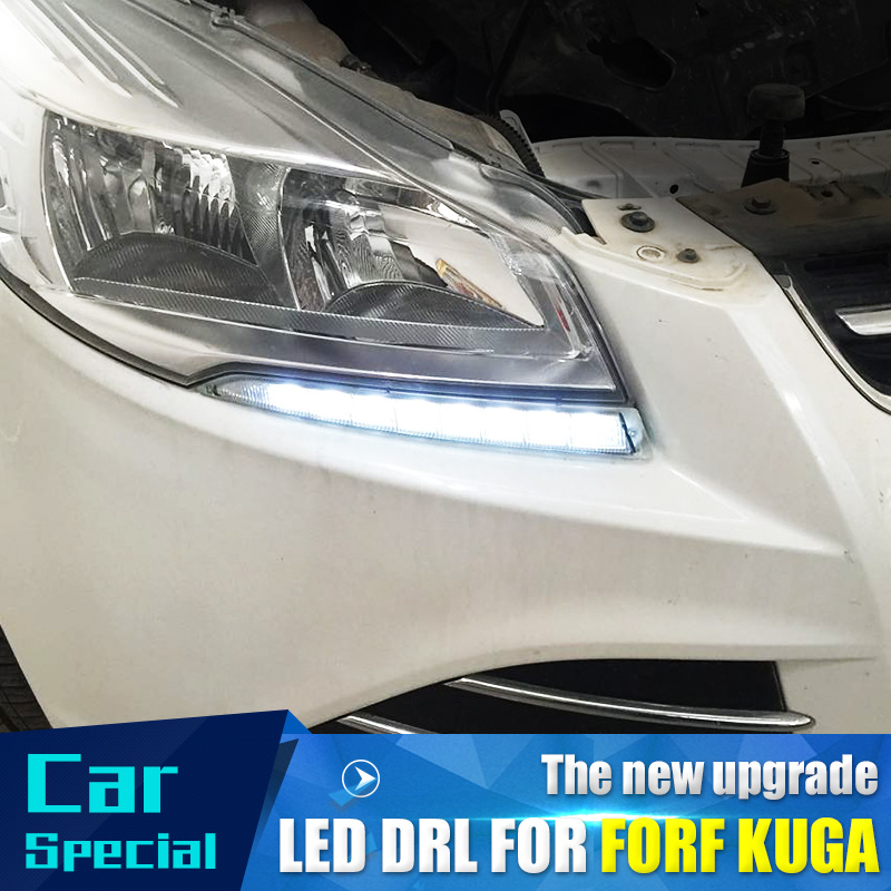 2PCs/set waterproof Car led Daytime Running Light drl daylight led car for Ford Kuga Escape 2012 2013 2014 2015 with fog lamp2PCs/set waterproof Car led Daytime Running Light drl daylight led car for Ford Kuga Escape 2012 2013 2014 2015 with fog lamp