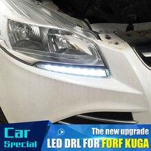 2 шт./компл. водостойкий светодио дный автомобиль светодиодные дневные ходовые огни drl Дневной светодио дный светодиодный автомобиль для Ford Kuga Escape 2012 2013 2014 2015 с противотуманной лампой