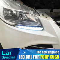 2PCs/set waterproof Car led Daytime Running Light drl daylight led car for Ford Kuga Escape 2012 2013 2014 2015 with fog lamp