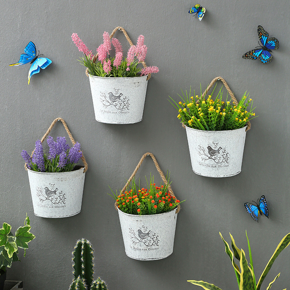 1pc Succulent Plant Pot Hanging Basket Mudged Old Waterproof Wall-Mounted Thick Decorative Bucket Flower Pot Container Tin
