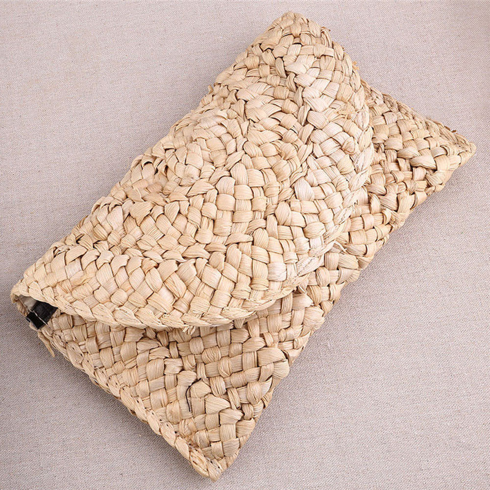 Knitted-Handbag Clutch Key-Money Long-Bag Retro-Straw Beach Women Summer Lady Lovely