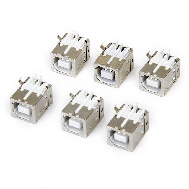 Lote de 6 pces substituição usb conector soquete tipo b fêmea ângulo direito