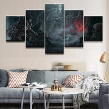 Modern Home Wall Art Decor Frame Pictures Art Print 5 Pieces Barbarian Demon Hunter Diablo Reaper Of Souls For Boys Room Poster