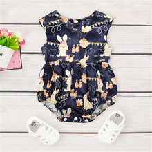 PUDCOCO Cute Newborn Baby Girls Sleeveless Easter Rabbit And Eggs  Bodysuit Clothes