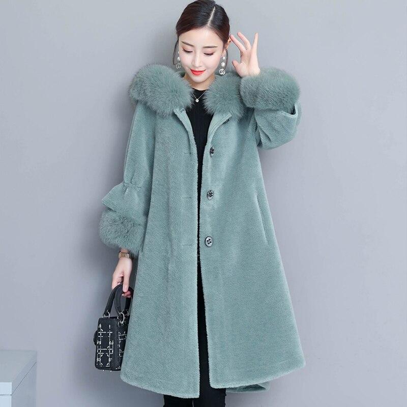 Faux gray 3xl Solide aqua coffee Casaco Fourrure Fashion Color Taille Des Green Manteau Femmes Plus Veste blue 2018 De Outwear D'hiver Feminino Off Élégantes White 0N8nwyOvm