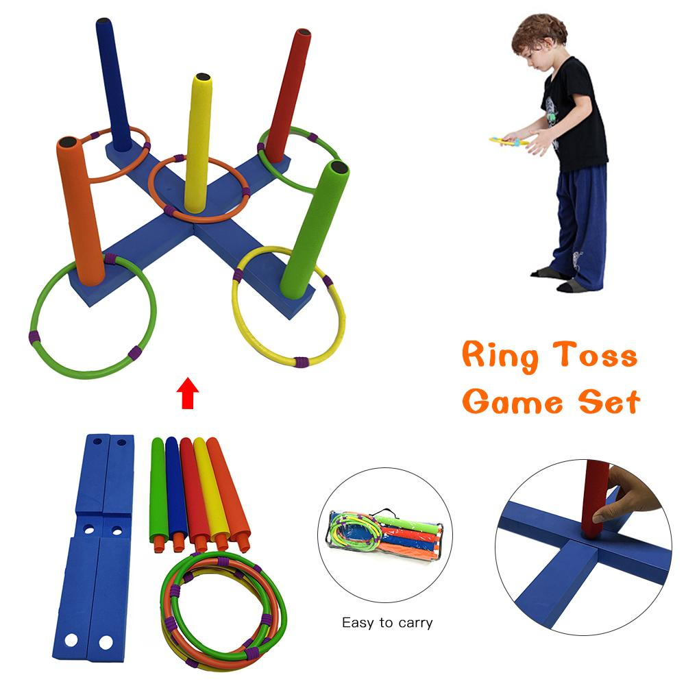 Ring toss game set-어린이 및 성인을위한 야외 게임-야드, 잔디, 뒷마당 파티를위한 재미있는 장난감-조립 용이-캐리 백 포함
