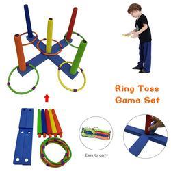 Zestaw gier Ring Toss gry dla dzieci i dorosłych na świeżym powietrzu fajna zabawka na podwórko  trawnik  podwórko łatwa w montażu torba do noszenia w Plac zabaw od Sport i rozrywka na