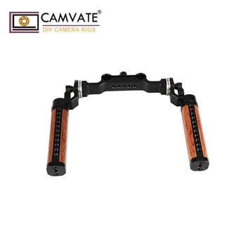 CAMVATE Rosette Wooden Handgrips & 15mm Rod Clamp For DSLR Handheld Shoulder Rig C1962