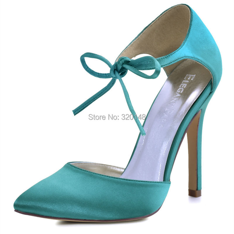 Woman Shoes Teal High Heel Prom Evening Pumps Ankle Strap