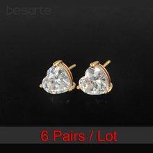 6 пар оптовая продажа золотые серьги гвоздики женские в виде
