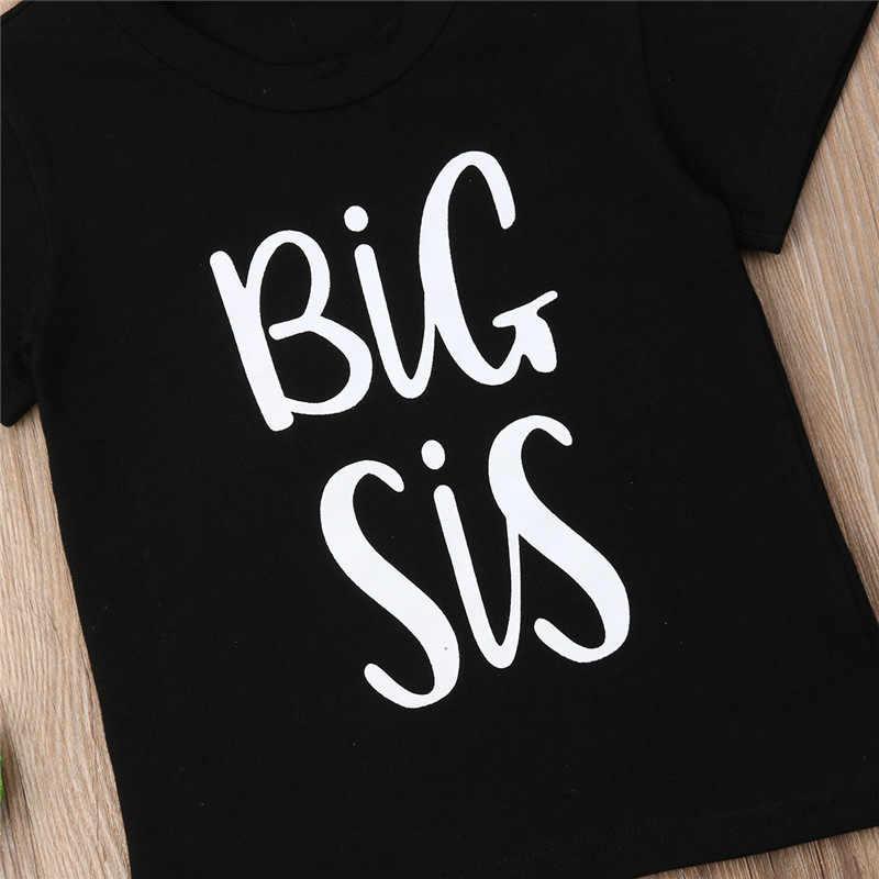 Broertje Baby Boy Katoenen T-shirt Grote Zus Meisjes Zomer Tee Bijpassende Tops Peuter Jongen Kleding Katoen O-hals Met Korte Mouwen