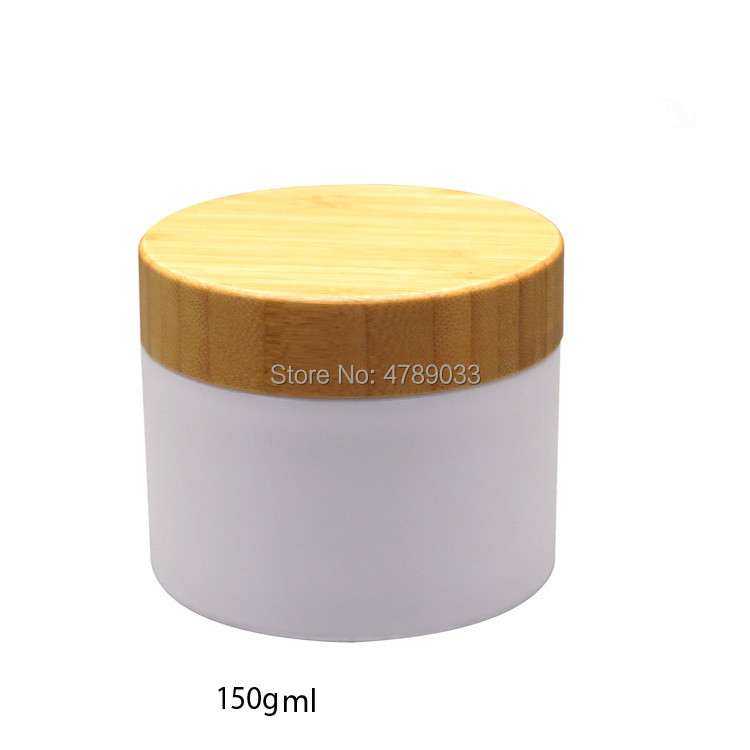 10pcs/lot 150g PP Empty Cream Jar with Bamboo Lid,White/Brown 150ml Empty Mask Refillable Container/Bottle, Makeup Tool