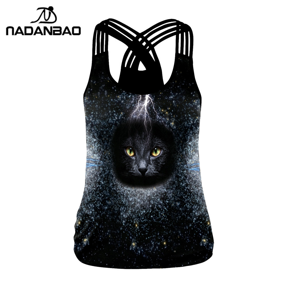 NADANBAO Galaxy Black Hole   Tank     Top   Women 3D Print Cat's eye Sexy   Tops   Sporting Fitness Vest Workout Cropped Elasticity