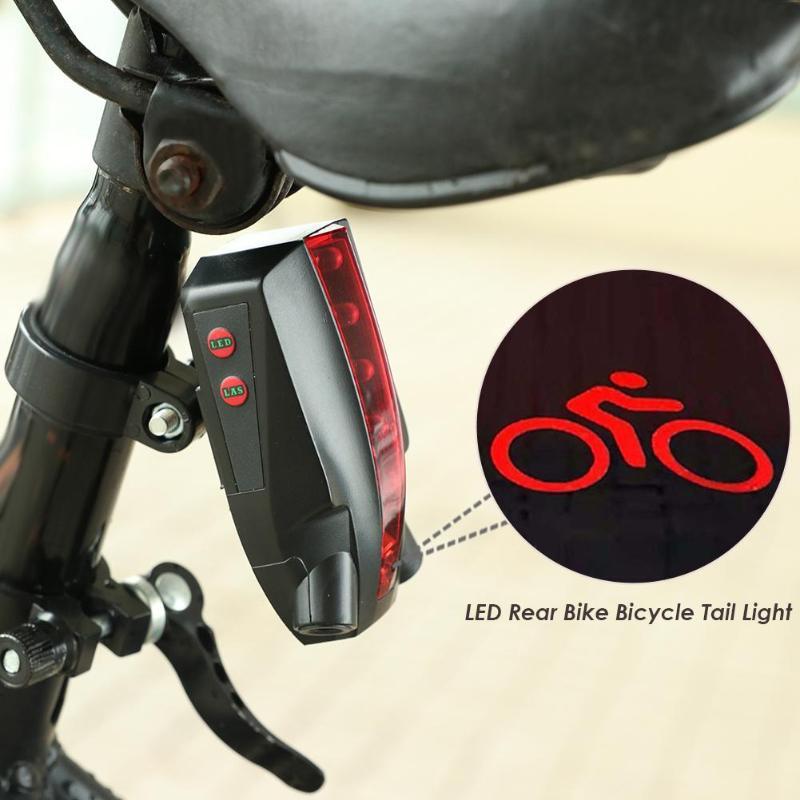 LED Bicycle Bike Light Night 2 Laser+5 LED Rear Bike Bicycle Tail Light Beam bike logo Safety Warning Red Rear Lamp Waterproof