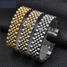 Watch accessories steel strap male 20mm sports waterproof for Rolex luxury series five beads full solid women watch band