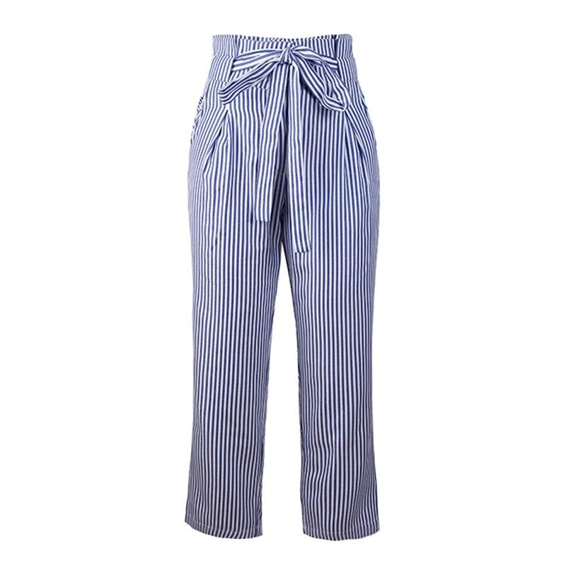 New Woman Stripe Pants Loose Casual Trousers Waist Drastring Belt Pockets  Wide Leg Pants Sreetwear Pantalon 2019 Fashion
