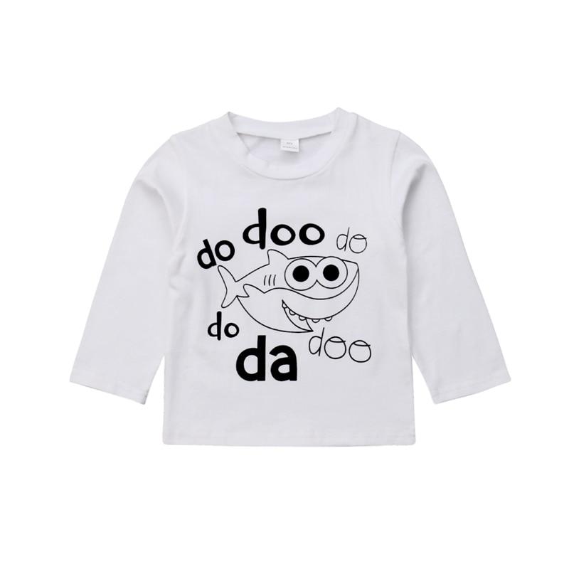 T-Shirt Tee-Tops Long-Sleeve Shark-Print Toddler Baby-Girl Kids Cotton Boy Casual Age
