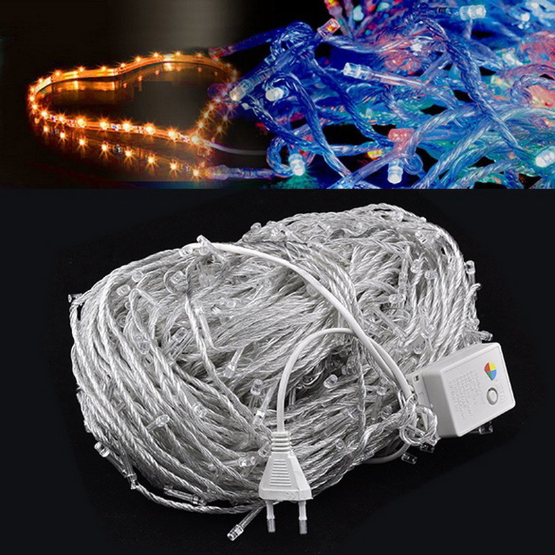 100 Meter 600 Led Light Strings Colorful Lights Decorative Wedding Fairy Christmas Tree Party Twinkle String Lighting Eu Type
