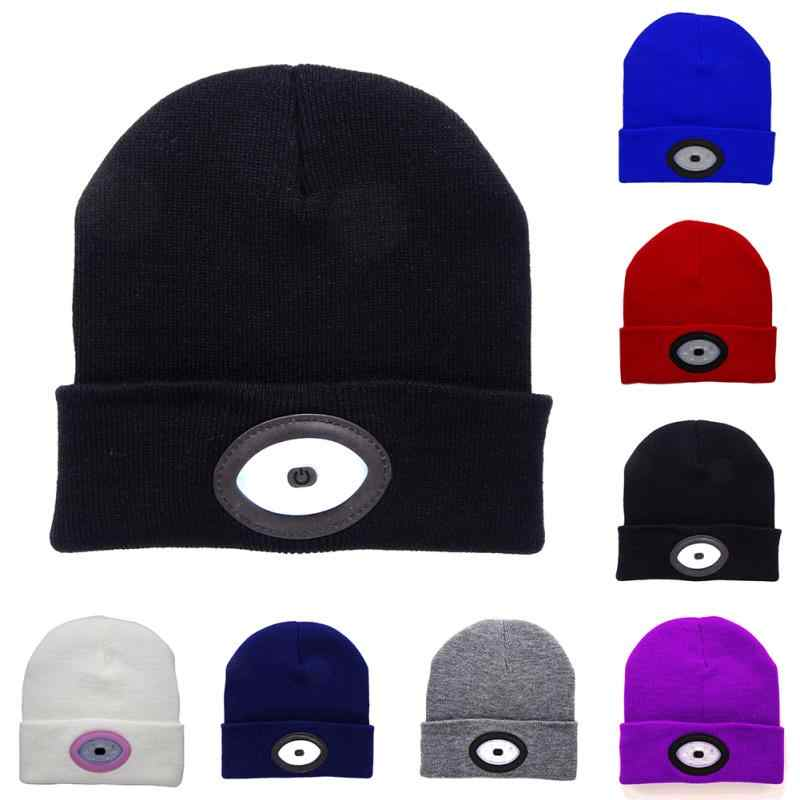 321c5acf669bf Unisex Autumn Winter LED Light Cap Outdoor Fishing Running Beanie Hat USB  Rechargeable Men Women Camping