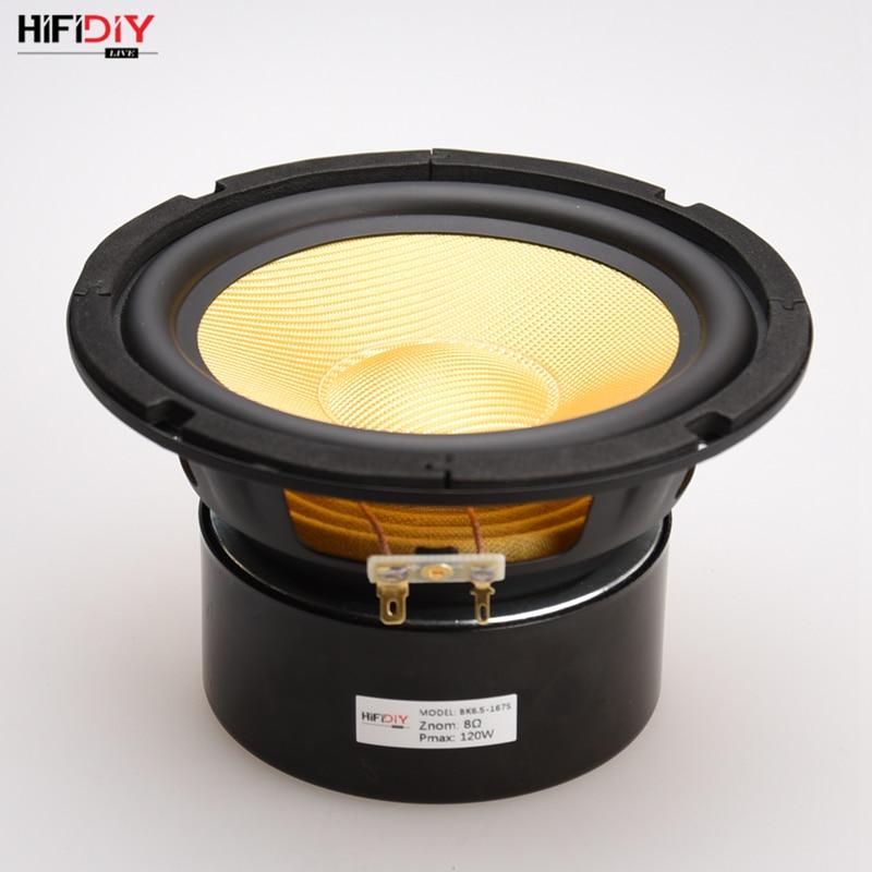 HIFIDIY LIVE HIFI Speakers DIY 6 Inch 6.5 Midbass Woofer Speaker Unit 8 OHM 120W Glass Fiber Vibratory Basin Loudspeaker K6-167S