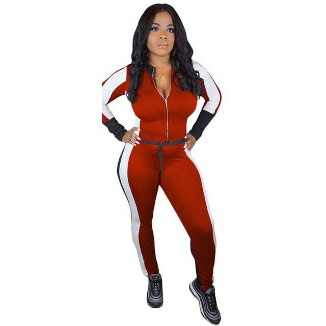 bdd27e5497 Kobiety Sporting dwuczęściowy zestaw dres blok kolor Crop Top z długim  rękawem bluza obcisłe spodnie sportowa