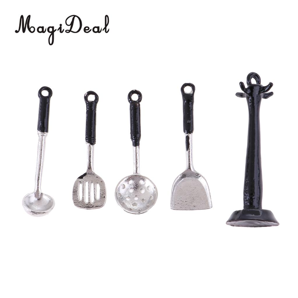 1/12 Scale Dollhouse Miniature Kitchenware Kitchen Accessories Metal Cooking Utensils Tools 4 Pieces Set Silver