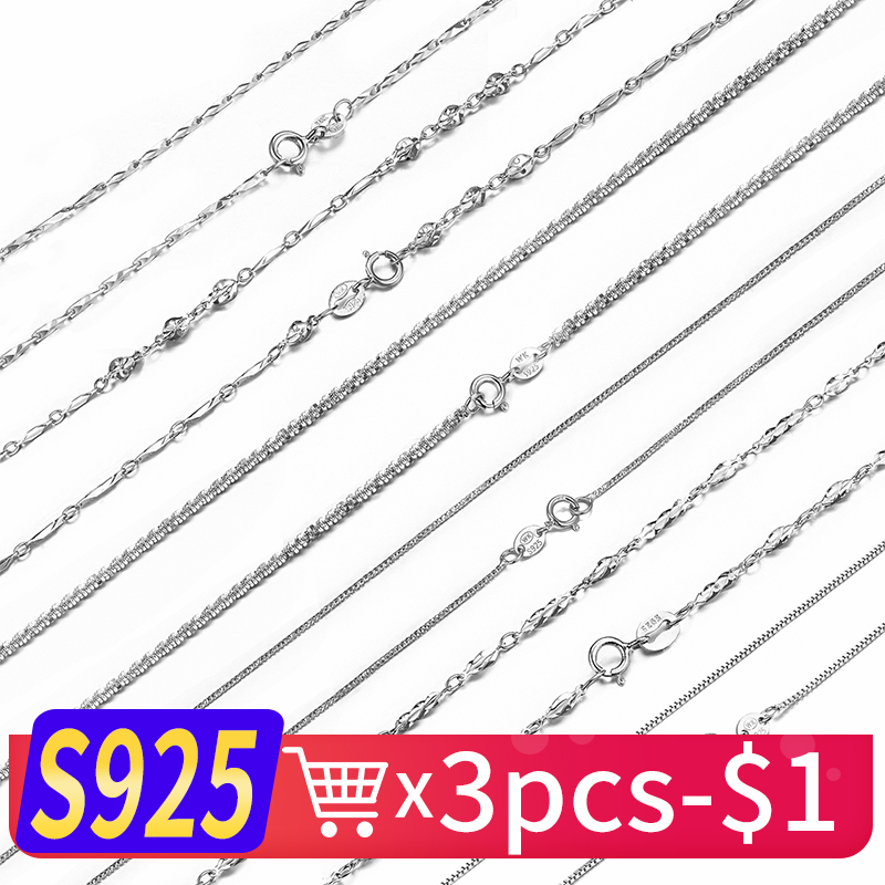 WK Real Pure 925 Sterling Silver Chain Necklace For Women Female Girls 16 18 Inch Snake Rope Link Chain Jewelry Wholesale Gift chukui 3 layered chain necklace women silver layers beads chain necklace gifts for girls cheap 18 inch