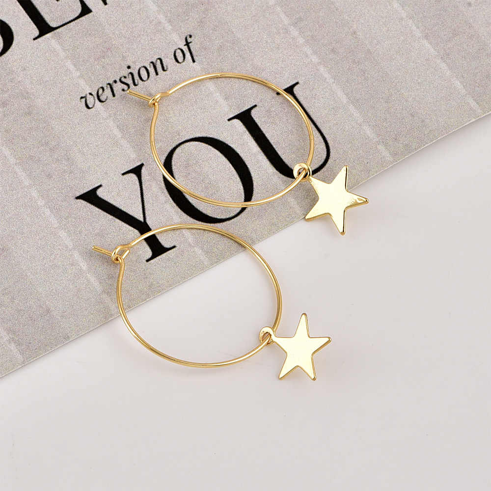 2019 Fashion Europe and America New Simple Circle Stars Geometric Hoop Earrings Trendy Earing for Women Holiday Wedding Jewelry