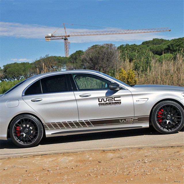 Black Auto Graphics Both Side Body Vinyl Decal Car Sticker Sports Racing Race Car Long Stripe Decals