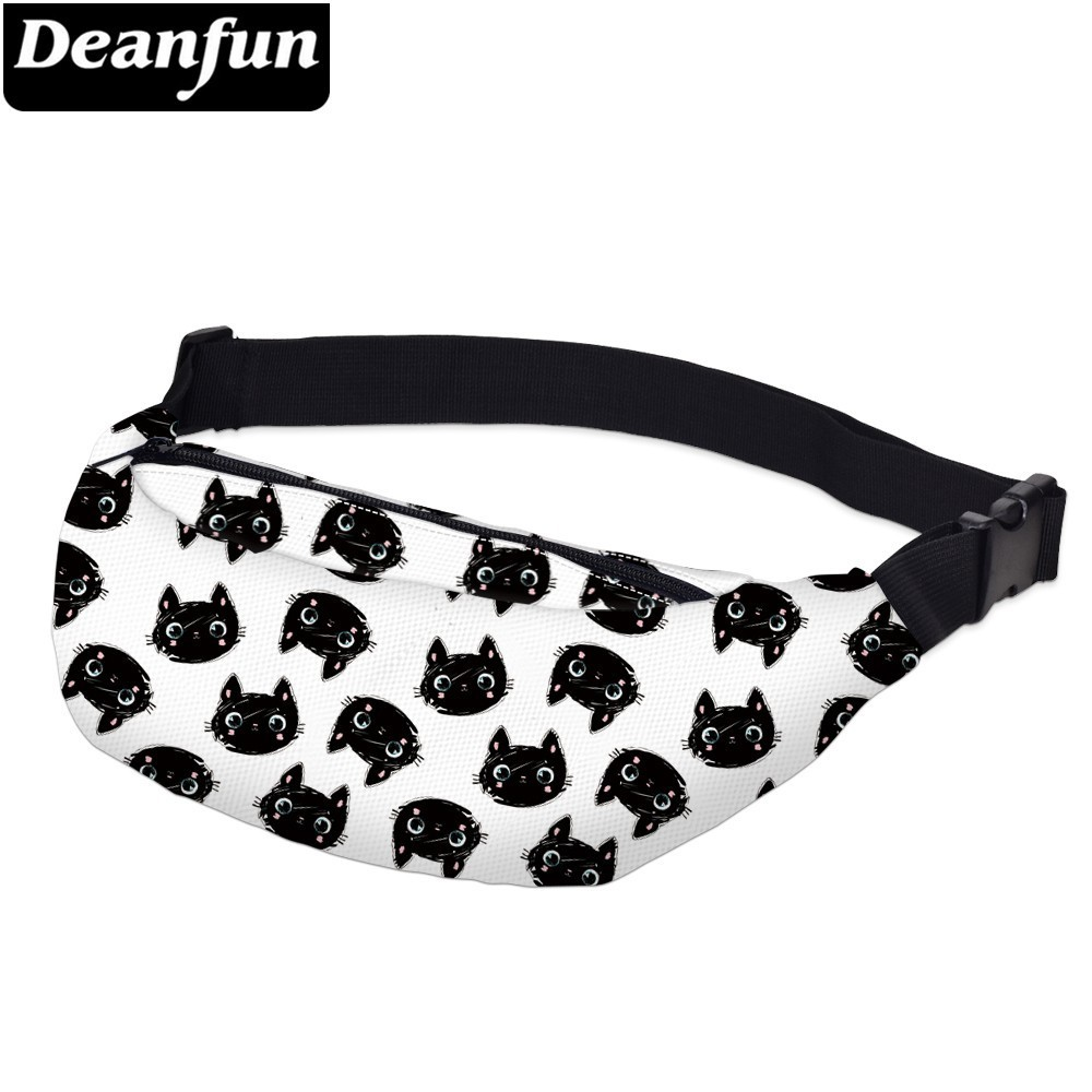 Deanfun Printing Little Black Cat Men Fanny Packs Waterproof White Waist Pack Man Shoulder Bag For Phone  YB-60